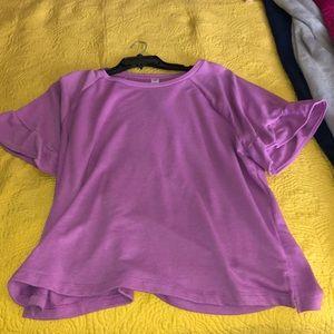 Purple Frilly Sleeve Shirt